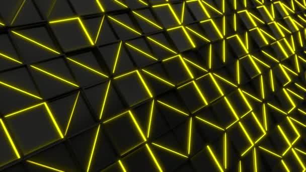 Fekete téglalap Falicsempe, sárga izzó elemekkel. Rács a négyzet csempe. Absztrakt háttér. 3D render