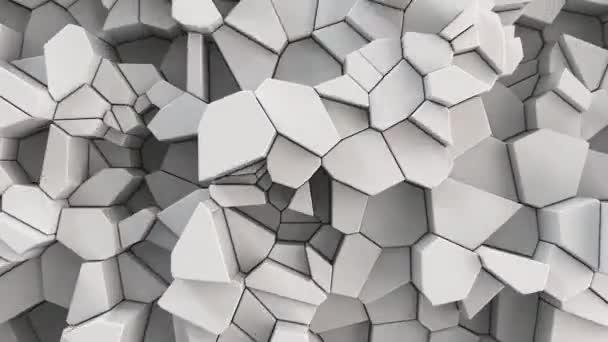 Bílé prasklý povrch. 3d pozadí abstraktní. 3D vykreslení animace