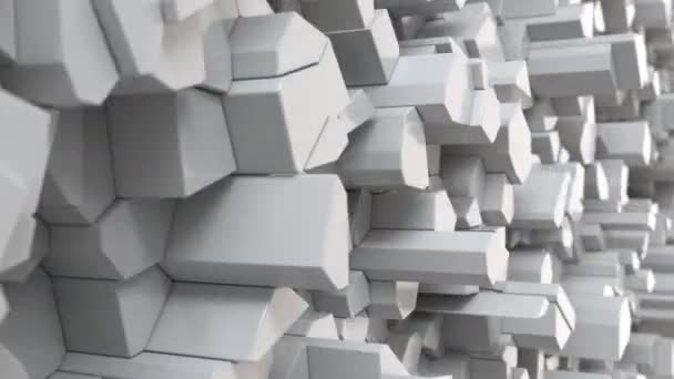 White fractured surface. Abstract 3d background. 3D render animation