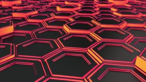 Abstrakten technologischen Hintergrund schwarz Sechsecke mit roten Schein gemacht. Wand aus Sechsecken. 3D Render-illustration