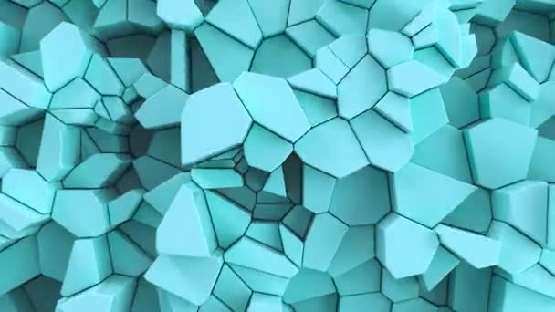 Blue fractured surface. Abstract 3d background. 3D render animation