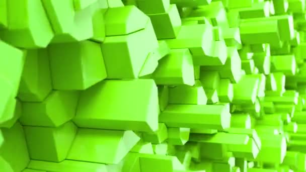 Green fractured surface. Abstract 3d background. 3D render animation
