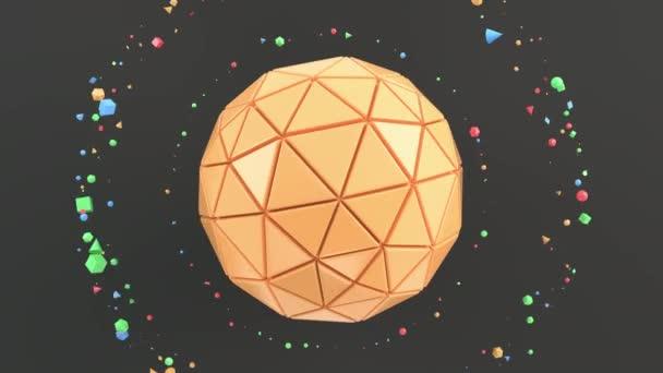 Abstraktní pozadí s oranžovou kouli na černém povrchu. 3D vykreslení obrázku