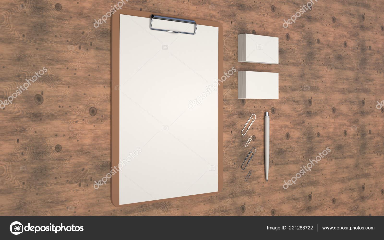 Presse Papiers Avec Feuille De Papier Cartes Visite Trombones Et Automatique Stylo A Bille Sur Table En Bois Blanc Maquette Limage Marque