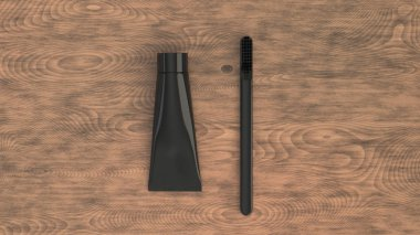 Blank black tube of toothpaste and toothbrush on wooden background. Branding or medical mockup. 3D rendering illustration