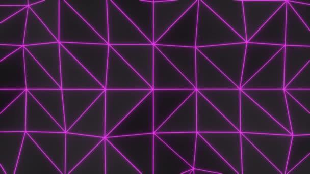 Poligál alakzatból készült absztrakt animált háttér. Sötét Low Poly kényszerült felülethez lila izzó csatlakozó vonalak. 3D renderelés animáció hurok