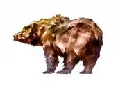 gemaltes farbiges Bärentier auf weißem Hintergrund