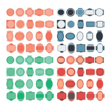 Vector set of badges. Elements of design. Circles, ovals, squares and crests