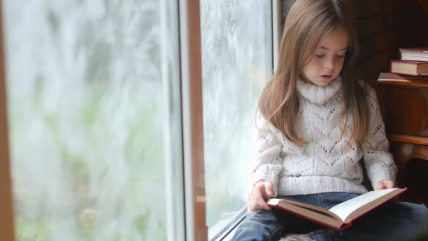 school-age girl reads an interesting book sitting near the window