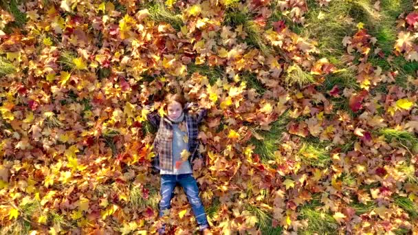 Cute girl lies on the bright autumn foliage in the park and dreams, shooting from a drone. Autumn concept