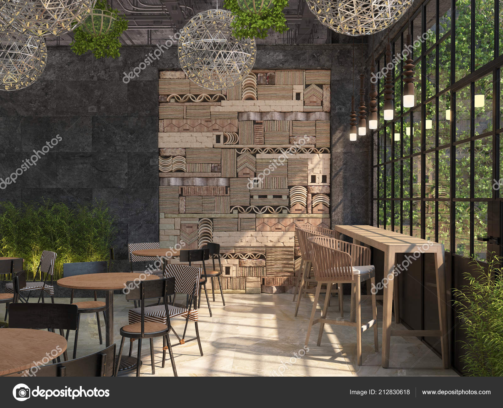 Interior Design Restaurant Loft Style Tables Chairs Background Black Wall Stock Photo C Jud G 212830618