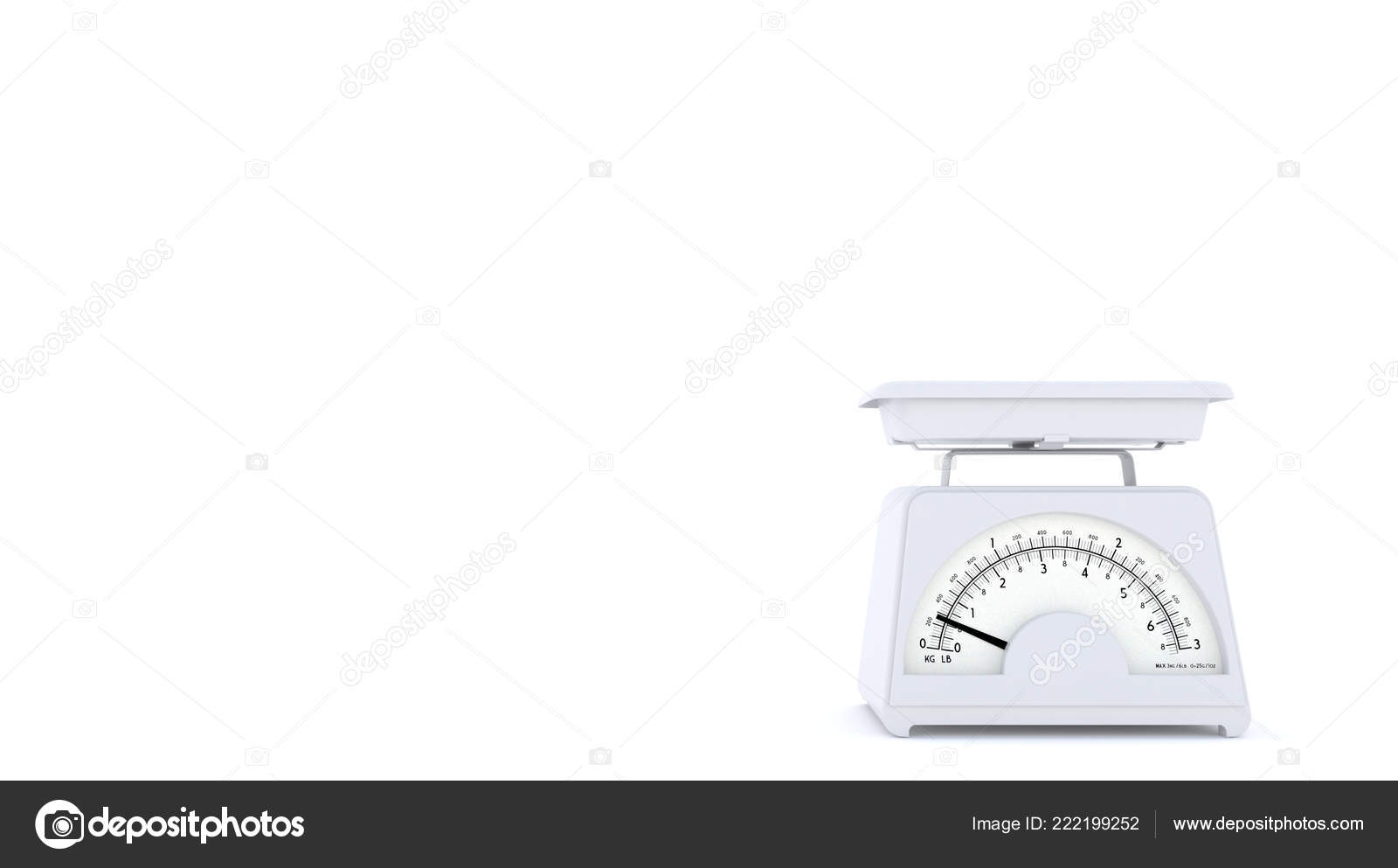 White Old Kitchen Weight Scales White Background Free Space