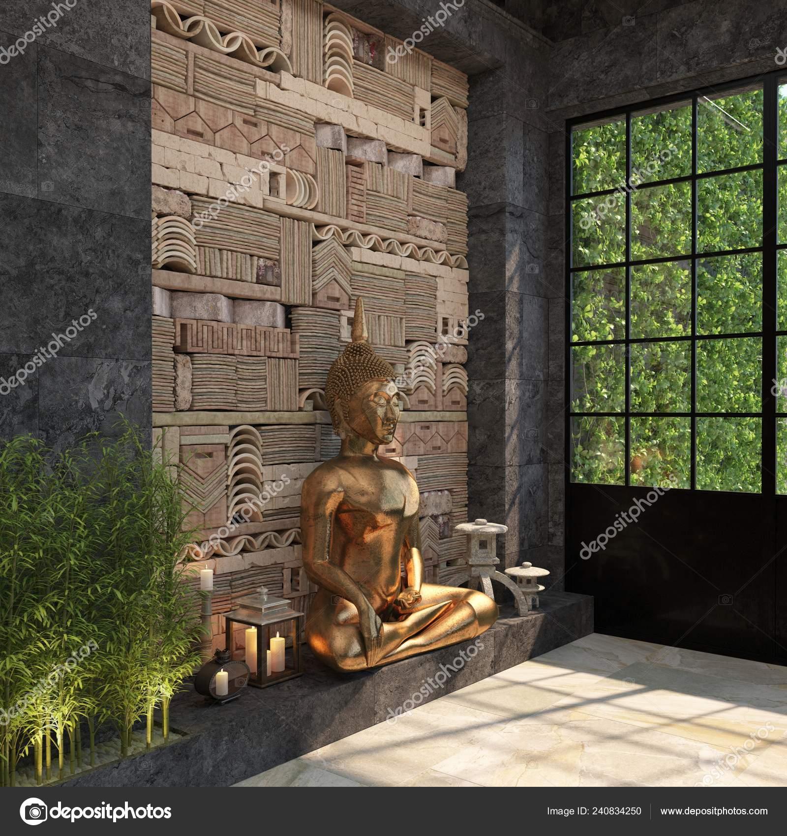 Decor Maison Avec Une Statue Bouddha Contre Mur Noir Avec