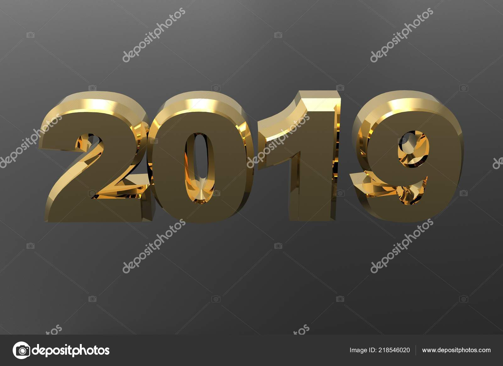 new year golden text 2019 rendering isolated gray background stock photo