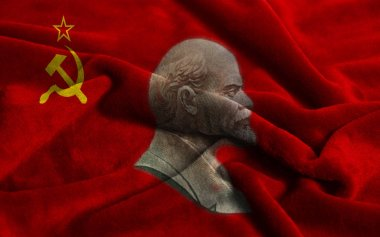 Flag of the Soviet Union with portraits of Vladimir Lenin background close up