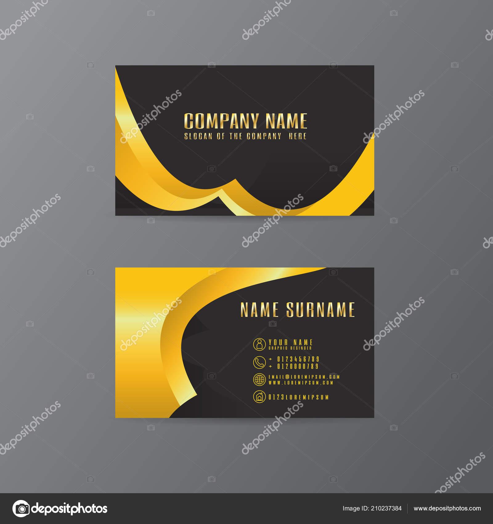 Vektor Kreative Visitenkarte Gold Und Schwarz Blattentwurf