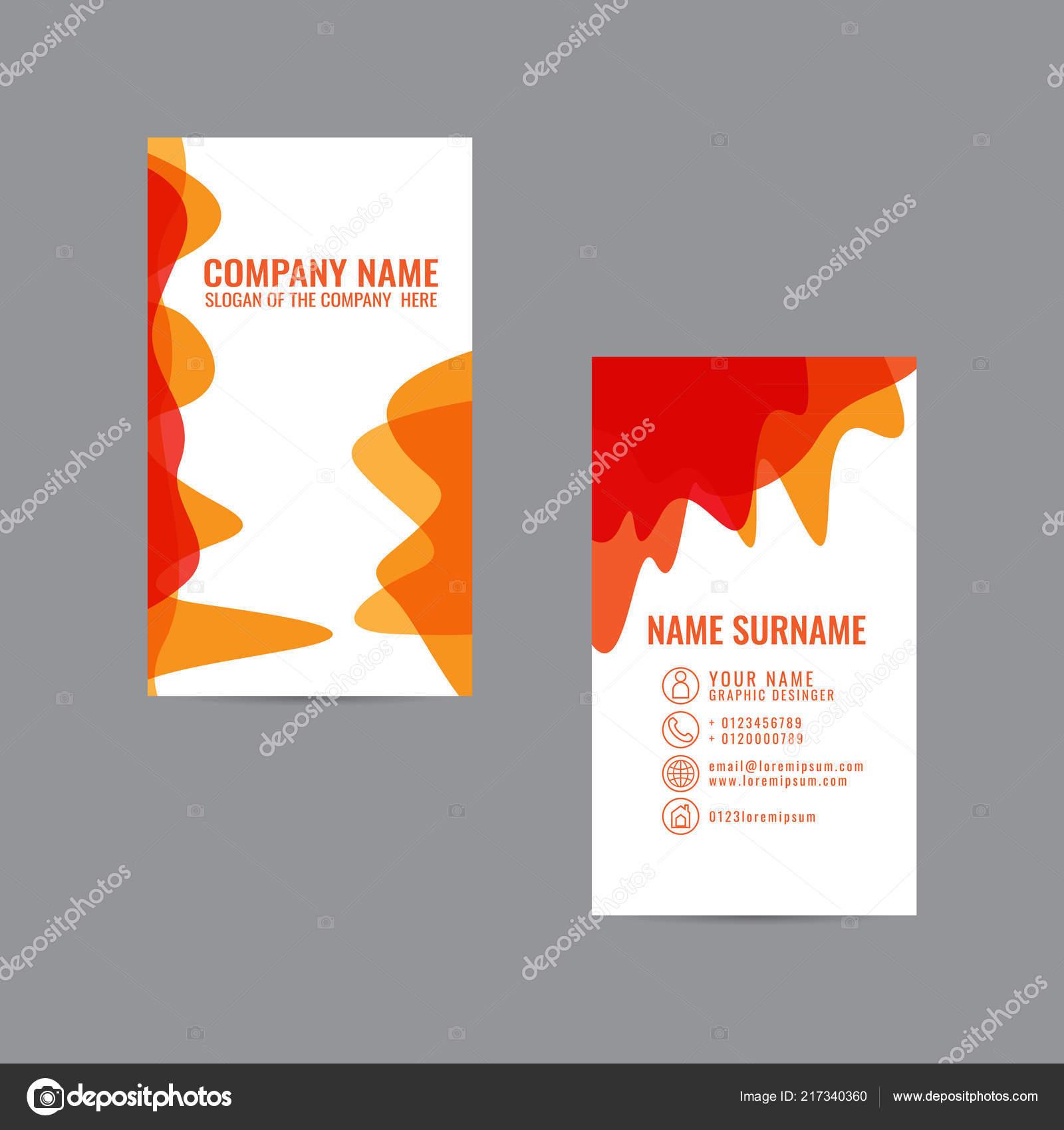 Conception Carte Visite Modele Elegant Colore Vector Sur Fond Gris Image Vectorielle