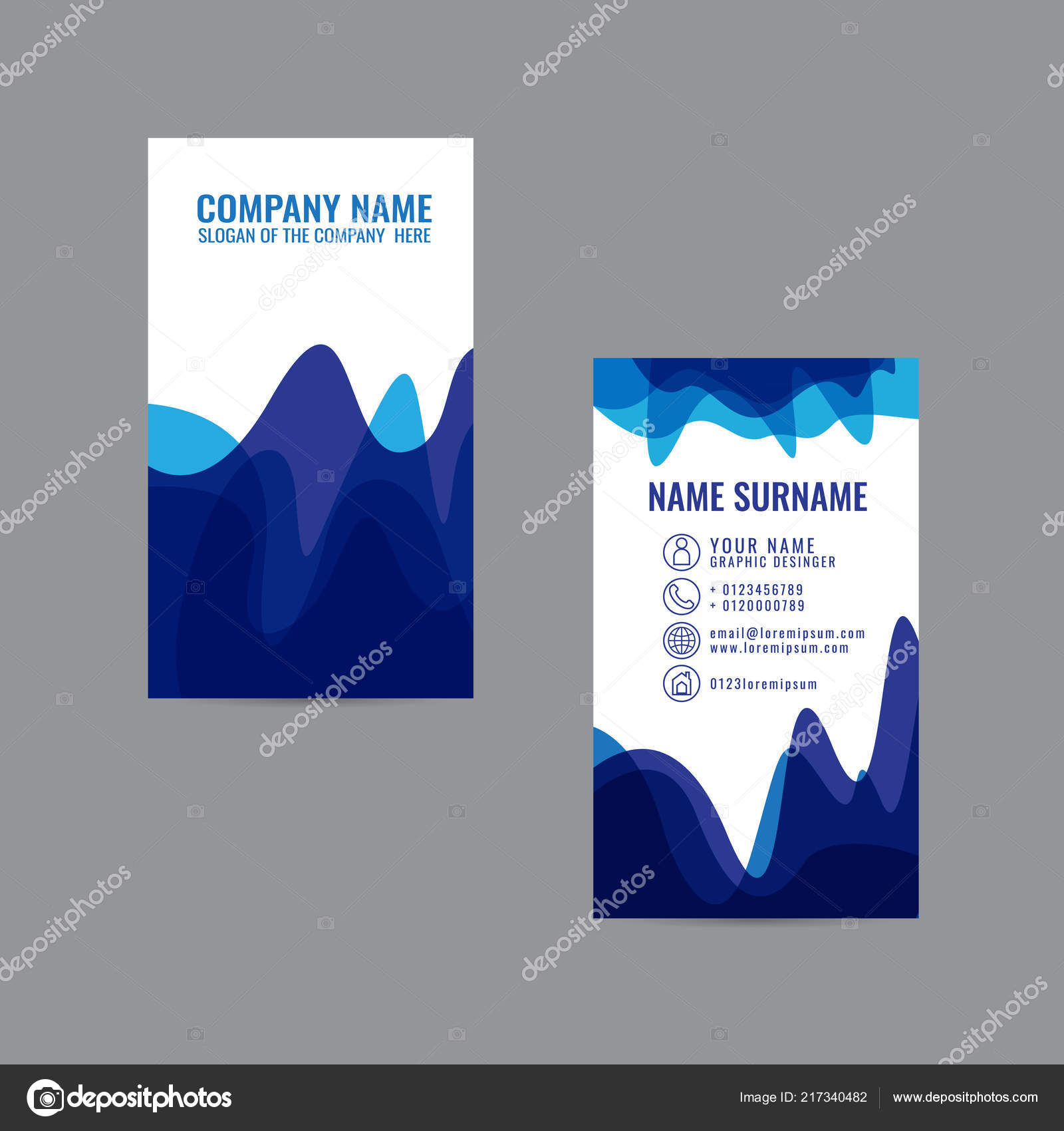 Business Card Colorful Stylish Template Design Vector Gray