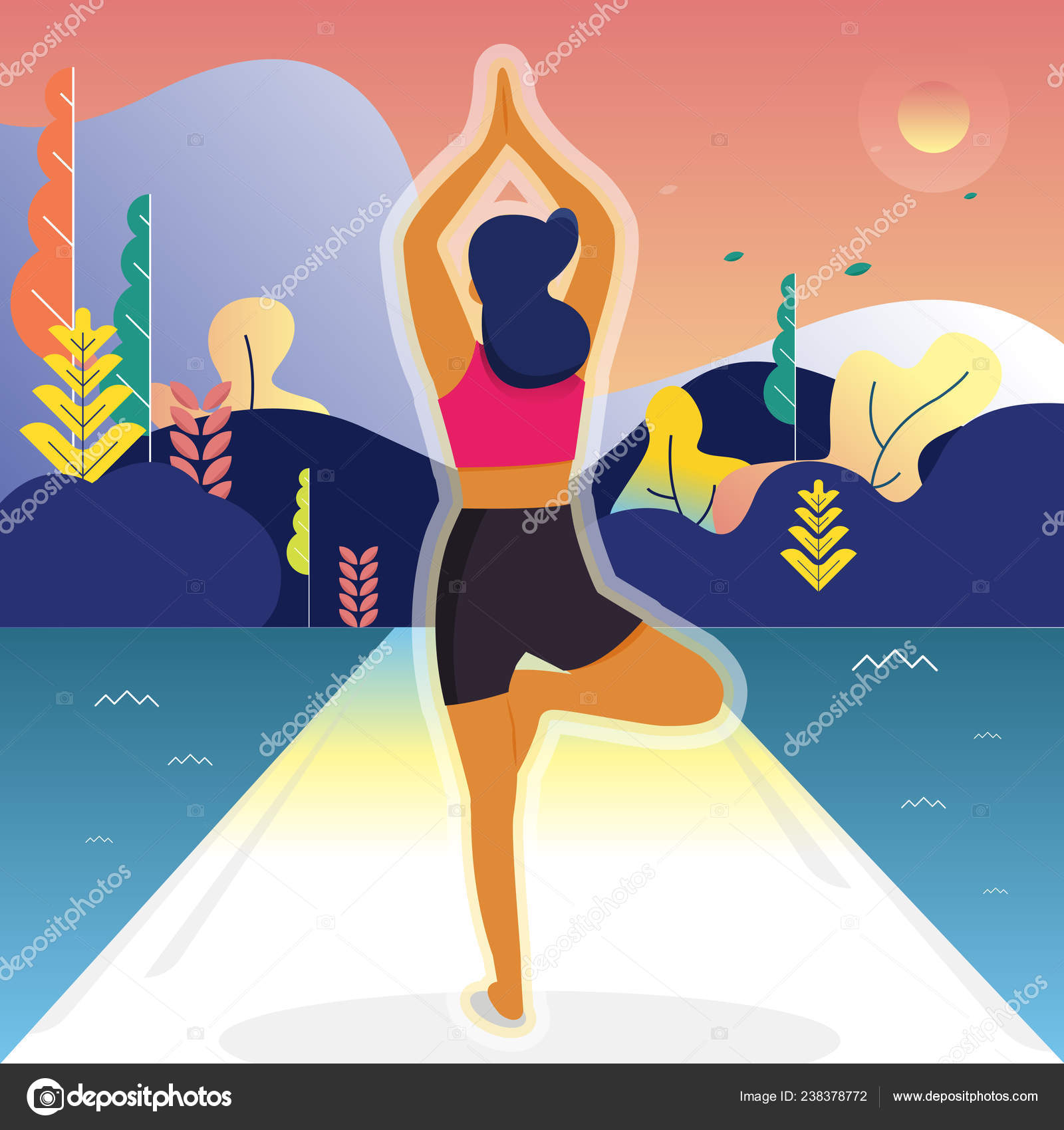 Vector Illustration Yoga Girl Fitness Characters Park Landscape Background Exercise Stock Vector C Areegraphic Gmail Com 238378772