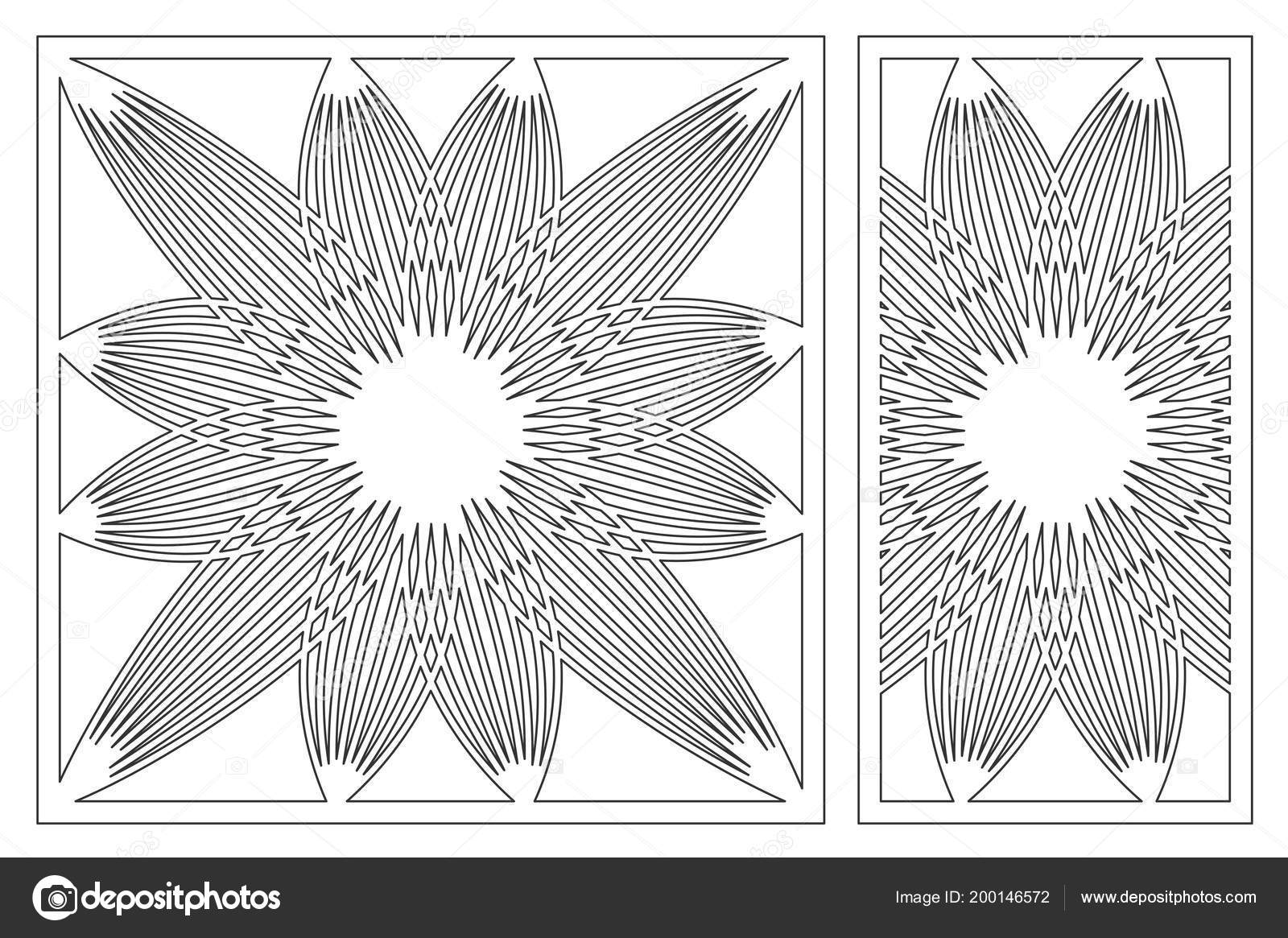 Template for cutting. Flower, geometric pattern. Laser cut. Set ...