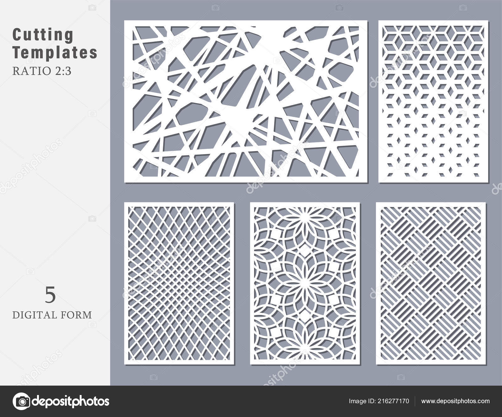 Set decorative card for cutting  Abstract geometric linear