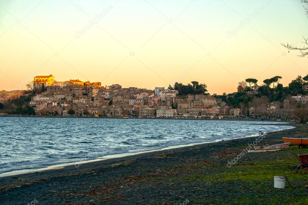 view of the picturesque town of Anguillara Sabazia on  Bracciano lake, Roma, Italy