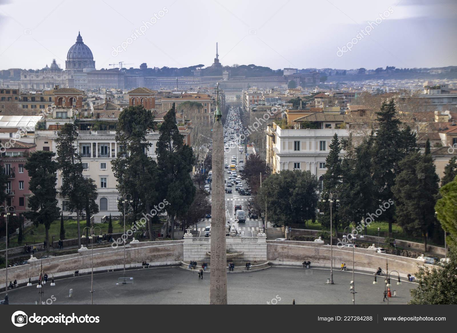 Roma Italia 2018 Vista Piazza Del Popolo Dalla Collina Dalla