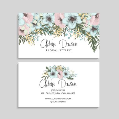 Business card with mint and pink flowers. Template