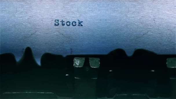stock exchange The Word closeup Being Typing With Sound and Centered on a Sheet of paper on old Typewriter 4k Footage .