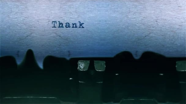 thank you The Word closeup Being Typing With Sound and Centered on a Sheet of paper on old Typewriter 4k Footage .