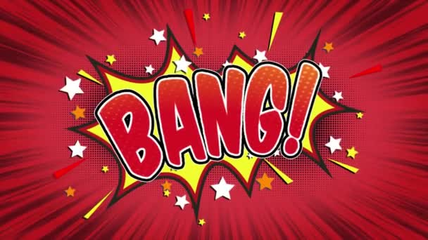 bang Word Retro Cartoon Comic Bubbles Popup Style Expressions Colored Bomb and Smoke Strip Dotted and red Speed Radial line Seamless loop Animation black / green screen 4k doodle background