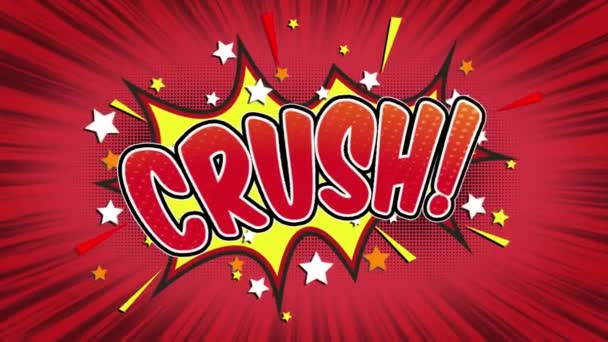 crush  Word Retro Cartoon Comic Bubbles Popup Style Expressions Colored Bomb and Smoke Strip Dotted and red Speed Radial line Seamless loop Animation black / green screen 4k doodle background