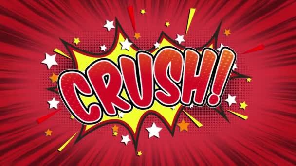 rozdrtit slovo Retro kreslený komiks bubliny Popup styl výrazy barevné bomby a kouřit tečkovaný pruh červené radiální rychlosti linky bezešvé smyčka animace černá / zelená obrazovka a 4k doodle pozadí