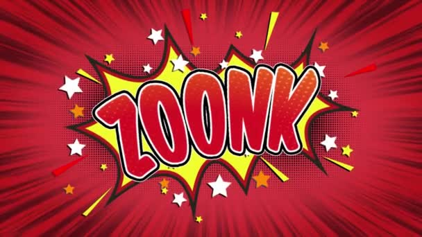 zoonk  Word Retro Cartoon Comic Bubbles Popup Style Expressions Colored Bomb and Smoke Strip Dotted and red Speed Radial line Seamless loop Animation black / green screen 4k doodle background