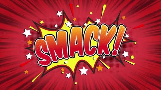 Plácnutí slovo Retro kreslený komiks bubliny Popup styl výrazy barevné bomby a kouřit tečkovaný pruh a červená radiální rychlosti linky bezešvé smyčka animace černá / zelená obrazovka 4k doodle pozadí