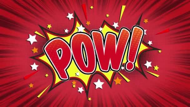 POW slovo Retro kreslené komiksové bubliny Popup výrazy barevné bomby a kouřit tečkovaný pruh a červená radiální rychlosti linky bezešvé smyčka animace černá / zelená obrazovka 4k doodle pozadí