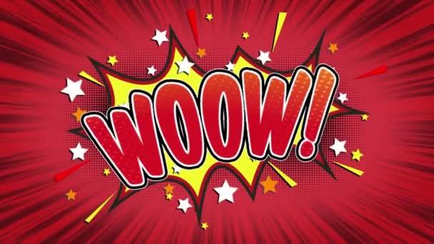 wow word retro cartoon comic bubbles popup style ausdrücke farbige bombe und rauchstreifen gepunktet und rote geschwindigkeit radiale linie nahtlose schleifenanimation schwarz / grün bildschirm 4k kritzelhintergrund