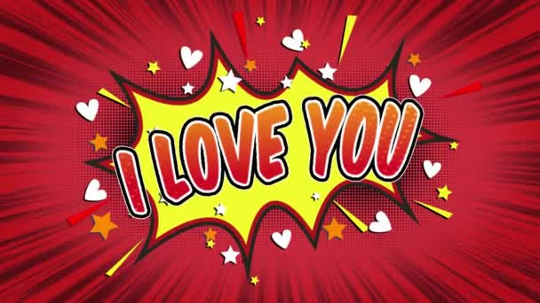 i love you  Word Retro Cartoon Comic Bubbles Popup Style Expressions Colored Bomb and Smoke Strip Dotted and red Speed Radial line Seamless loop Animation black / green screen 4k doodle background