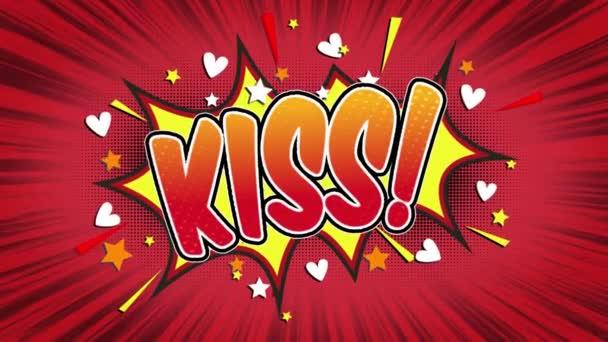 Kiss slovo Retro kreslený komiks bubliny Popup styl výrazy barevné bomby a kouřit tečkovaný pruh červené radiální rychlosti linky bezešvé smyčka animace černá / zelená obrazovka a 4k doodle pozadí