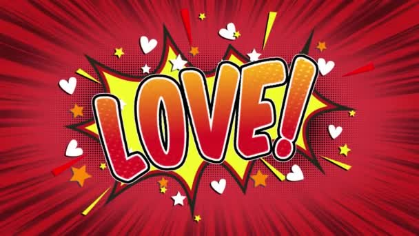 love Word Retro Cartoon Comic Bubbles Popup Style Expressions Colored Bomb and Smoke Strip Dotted and red Speed Radial line Seamless loop Animation black / green screen 4k doodle background