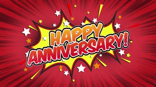 Happy Anniversary Word Retro Cartoon Comic Bubbles Popup Style Expressions Colored Bomb and Smoke Strip Dotted and red Speed Radial line Seamless loop Animation black / green screen 4k doodle background