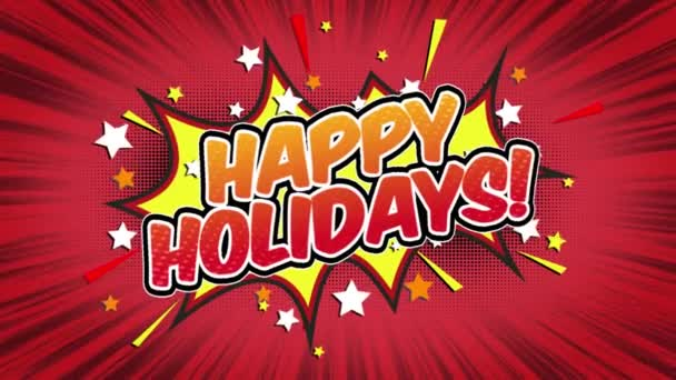 Happy Holidays Word Retro Cartoon Comic Bubbles Popup Style Expressions Colored Bomb and Smoke Strip Dotted and red Speed Radial line Seamless loop Animation black / green screen 4k doodle background