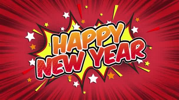 Happy new year Word Retro Cartoon Comic Bubbles Popup Style Expressions Colored Bomb and Smoke Strip Dotted and red Speed Radial line Seamless loop Animation black / green screen 4k doodle background