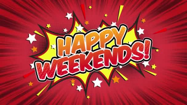 Happy weekends Word Retro Cartoon Comic Bubbles Popup Style Expressions Colored Bomb and Smoke Strip Dotted and red Speed Radial line Seamless loop Animation black / green screen 4k doodle background