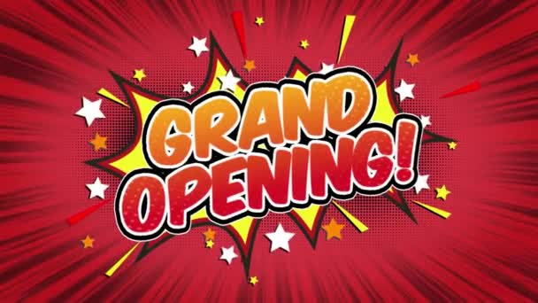 grand opening Word Retro Cartoon Comic Bubbles Popup Style Expressions Colored Bomb and Smoke Strip Dotted and red Speed Radial line Seamless loop Animation black / green screen 4k doodle background