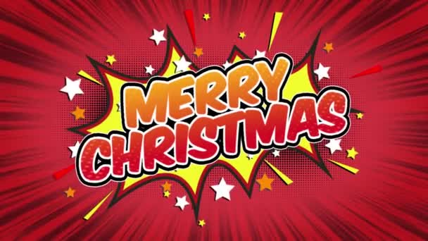 Merry Christmas Word Retro Cartoon Comic Bubbles Popup Style Expressions Colored Bomb and Smoke Strip Dotted and red Speed Radial line Seamless loop Animation black / green screen 4k doodle background