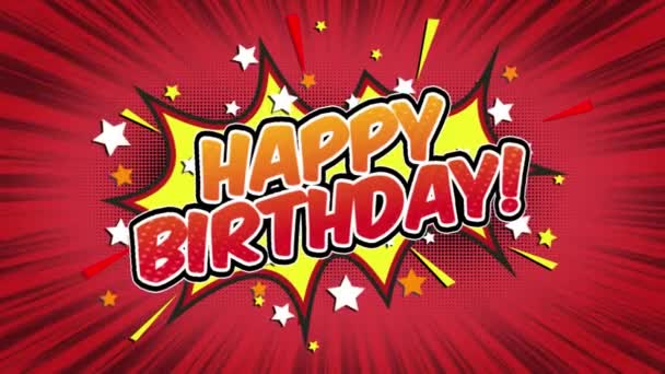 happy birthday Word Retro Cartoon Comic Bubbles Popup Style Expressions Colored Bomb and Smoke Strip Dotted and red Speed Radial line Seamless loop Animation black / green screen 4k doodle background