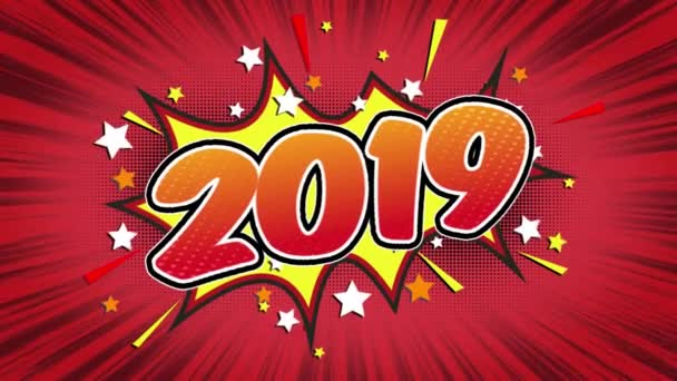 2019 Word Retro Cartoon Comic Bubbles Popup Style Expressions Colored Bomb and Smoke Strip Dotted and red Speed Radial line Seamless loop Animation black / green screen 4k doodle background