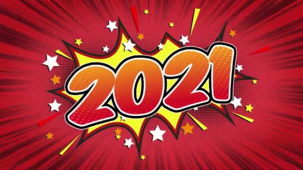 2021 Word Retro Cartoon Comic Bubbles Popup Style Expressions Colored Bomb and Smoke Strip Dotted and red Speed Radial line Seamless loop Animation black / green screen 4k doodle background