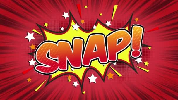 Snap Word Retro Cartoon Comic Bubbles Popup Style Expressions Colored Bomb and Smoke Strip Dotted and red Speed Radial line Seamless loop Animation black / green screen 4k doodle background